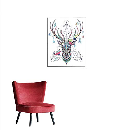 longbuyer Wall Picture Decoration Patterned Head of The Deer with Geometry Mural 32