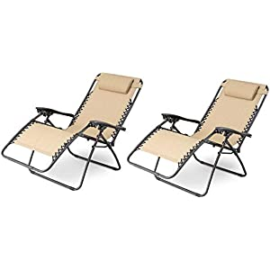 XtremepowerUS Cream Zero Gravity Adjustable Chair - Set of 2