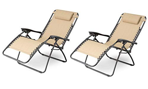 XtremepowerUS Zero Gravity Chair Adjustable Reclining Chair Pool Patio Outdoor Lounge Chairs w Cup Holder – Set of Pair Tan