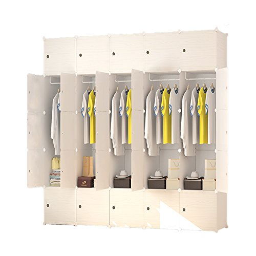 Portable Clothes Closet Wardrobe by HomeCreations-Freestanding Storage Organizer with doors , large space and sturdy construction. Beige-25 by Home Creations
