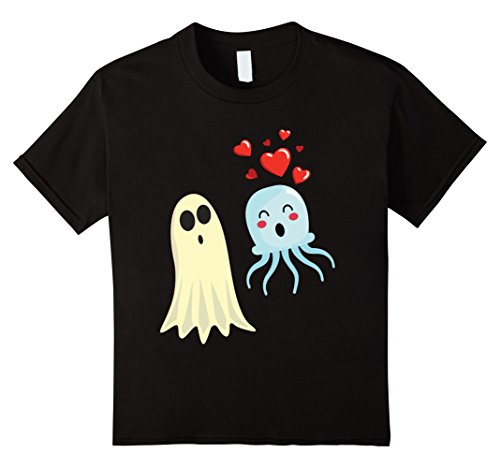 Kids Jellyfish Costume (Kids Jellyfish Falls in Love with Ghost Funny Halloween T-shirt 6 Black)