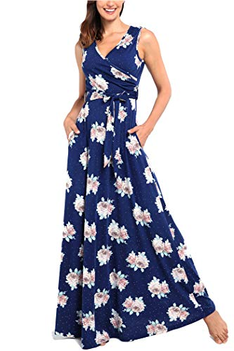 (Comila V Neck Dress with Pockets for Women, Retro Pattern V Neck Sleeveless Dress Pockets Women Wrap Maxi Dress School Juniors Long Floral Maxi Dress Navy Blue S (US 4-6))