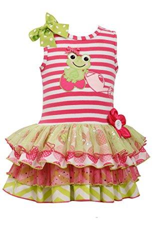 Bonnie Jean Baby Girls Frog Multi Tiered Dress, Pink, 2T Frog Denim