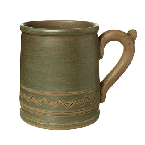 Handmade Pottery Mugs (Handmade Ceramic Mug Clay Cup with Handle 12oz Multicolor Natural Earthenware Eco Friendly Tea Coffee Lead Free Pottery Handcrafted Green Semin Mug)