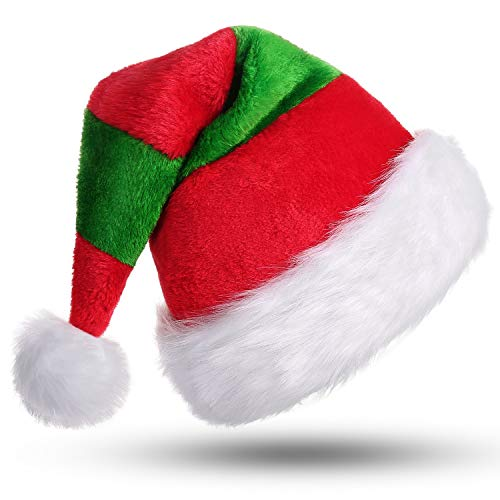 Phyxin Santa Hats Holidays New Year Unisex Classic Christmas Hat Adults Santa Claus Hat Costume Xmas Hat Christmas Decoration Red&Green