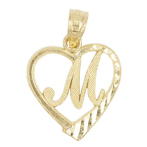 - Ice on Fire Jewelry 10k Solid Gold Initial Pendant in Heart Frame with Diamond Cut Finish, Available in Different Letters of Alphabet Personalized Charm for Women (M)