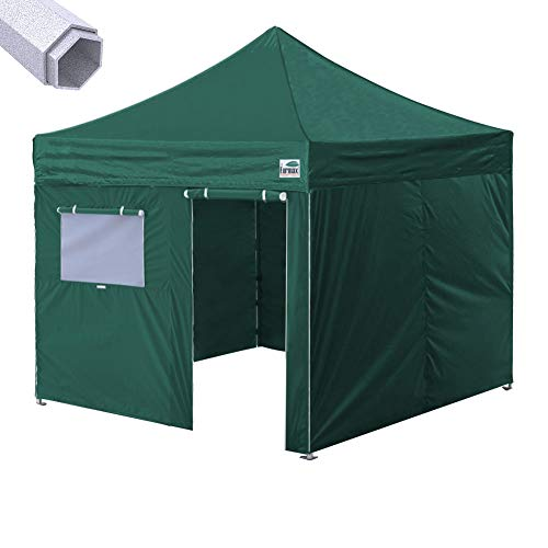 Eurmax Premium 10'x10' Ez Pop-up Canopy Tent Commercial Instant Canopies Shelter with Removable Sidewalls Bonus Wheeled Carry Bag (Forest Green) ()