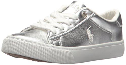(Polo Ralph Lauren Kids Unisex Easton Sneaker, Silver/Metallic, 11 Medium US Little Kid)