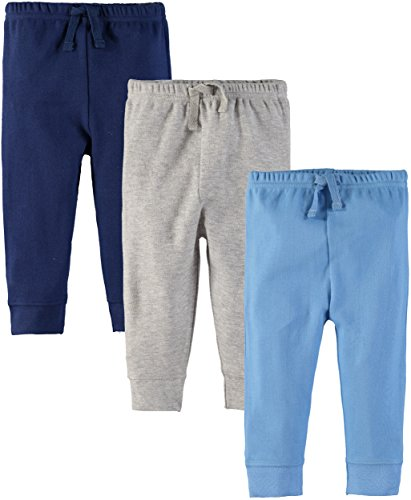 (Wan-A-Beez Boys' and Girls' 3 Pack Pants (0-3 Months, Grey/Blue/Navy)