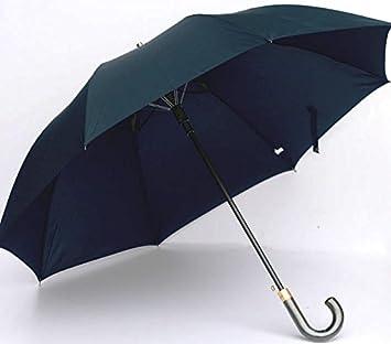 RF Paraguas resistente al viento de tallo largo negro cuero paraguas doble empuñadura en días de