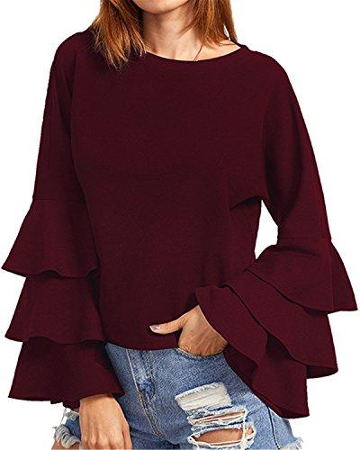 Casual Maglia Manica Shirt Bordeaux Lunga Donna Girocollo Autunno Top Maglietta Elegante T Blusa StyleDome Nuovo qYTznZw