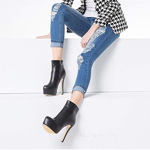 J Robe Chaussures Plate Zipper forme Cheville Talon Noir Botte Côté Haute Eks Cachée Femmes 109 U1xwn5W