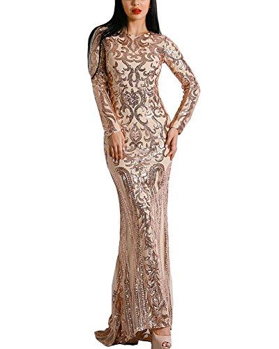 (WRStore Long Sleeve Retro Sequin Maxi Evening Dress Gold M)