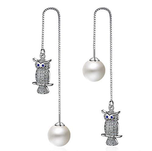 (megko Owl Dangle Earrings Pearl Threader 925 Sterling Silver Chain Tassel Earrings 4.8 Inches )