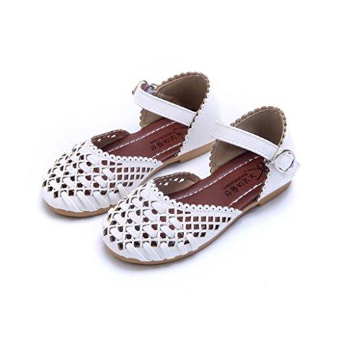 Tefamote Sandalias de las muchachas del verano Recorte Niños de las sandalias de la muchacha del niño Zapatos planos ocasionales de los cabritos Blanco