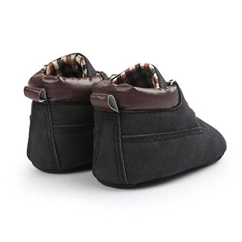 Xmansky Unisex-Baby weiche warme Sohle Schuhe Infant Jungen Mädchen Kleinkind Schuhe (0-6 Monat, Dunkelblau) Schwarz