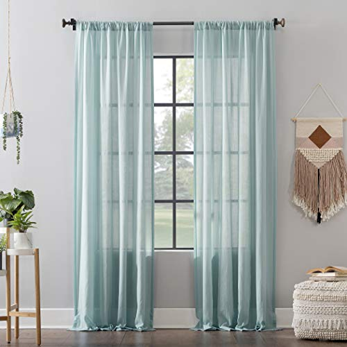 "Clean Window Leno Weave Stripe Anti-Dust Allergy/Pet Friendly Sheer Curtain Panel, 52"" x 84"", Aqua"