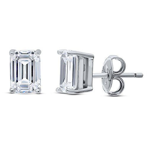 BERRICLE Rhodium Plated Sterling Silver Emerald Cut Cubic Zirconia CZ Solitaire Anniversary Wedding Stud Earrings 7mm x 5mm 2 CTW