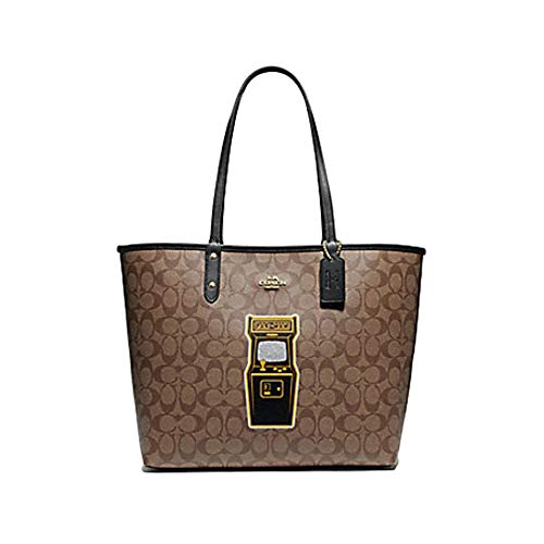 Coach Reversible City Tote in Signature Canvas with PAC-MAN Game F72899 IM/KHAKI MULTI BLACK