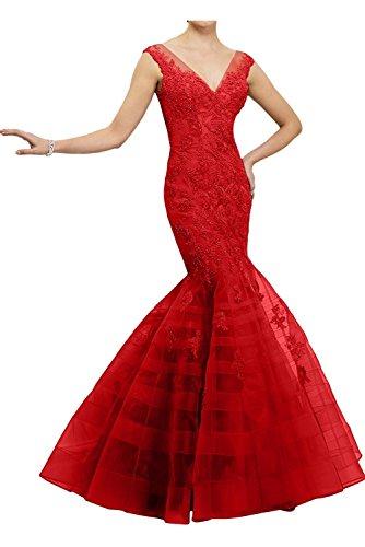 Fuchsia Damen Abendkleider Promkleider Spitze Meerjungfrau La Marie Brautmutterkleider Lang Rot Braut 1EqwxtT