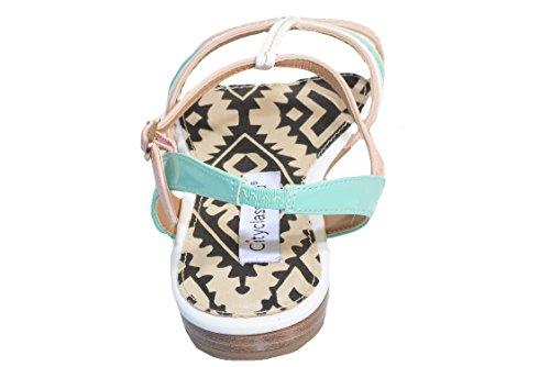 City klassifisert Ines Strappy Flat Sandal Pastell Multi
