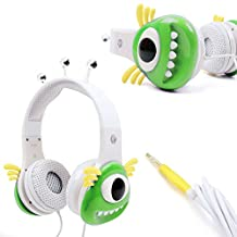 Colourful Green and White Children's Monster Headphones - Compatible with Leapfrog LeapPad, Explorer, Platinum, Epic, Leapster Tablets