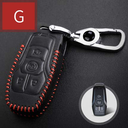 Maiqiken Car Key case Genuine Leather Car Smart Key Chain Holder Case for Ford G 4 Buttons Smart Key