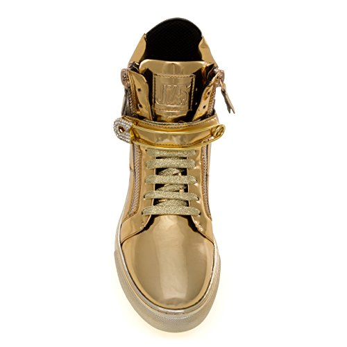 Jump J75 Mannen Zion Ronde Neus Bergkristal Riem Lace-up High-top Sneaker Gouden Speld