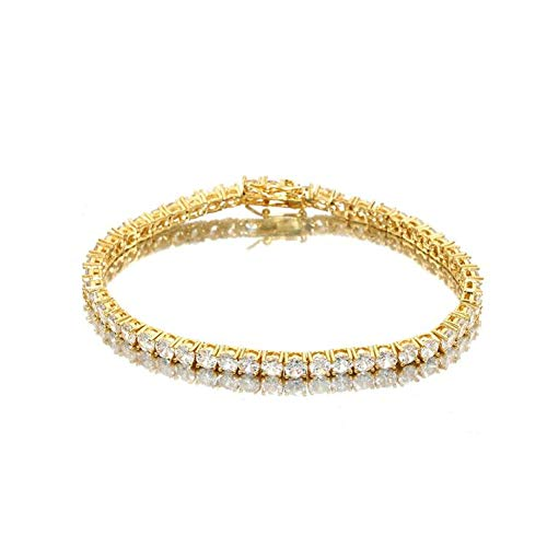 W/W Lifetime 18K Gold Plated Copper Bling Luxury Iced Out CZ Tennis Chain - Mens Hip Hop Rapper Bracelet - (Gold)