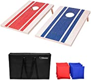 GoSports 3'x2' Wood Design Cornhole Game Set - Includes Two 3'x2' Boards, 8 Bean Bags, and Car