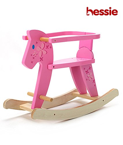 Wooden Rocking Horse, Pink Rocker Ride On for Toddlers, Rocking Horses Ages 1-3
