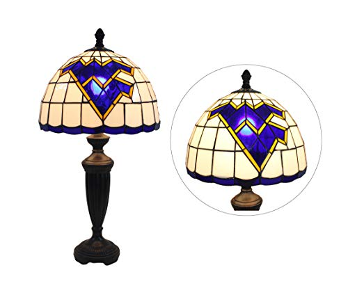 Yogoart 12-inch NCAA West Virginia Mountaineers Stained Glass Table Lamp Tiffany Style Table Lamps 24.8 Inch Height