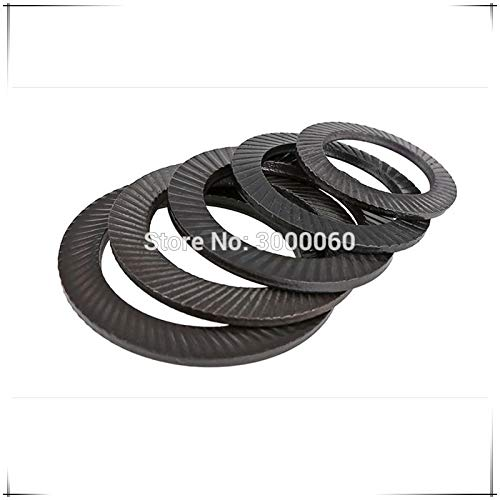 Ochoos M16 M18 M20 M22 M24 M30 Black Carbon Steel Double Ridges Anti-Skid Gasket Lock Washers with Doule Faced Printing - (Inner Diameter: M30)
