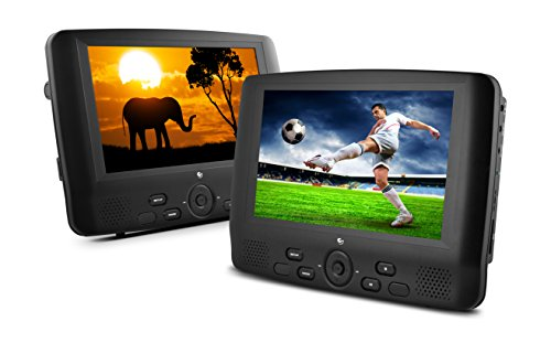 Ematic ED929D 9-Inch Dual Screen Portable DVD Player with Dual Monitors (Black) by Ematic