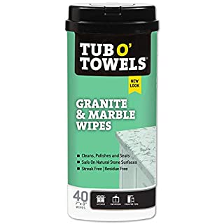 Tub O Towels Granite And Marble Cleaning Wipes - Clean, Polish, Seal, 40 Count Wipes, Granite & Marble (TW40-GR)