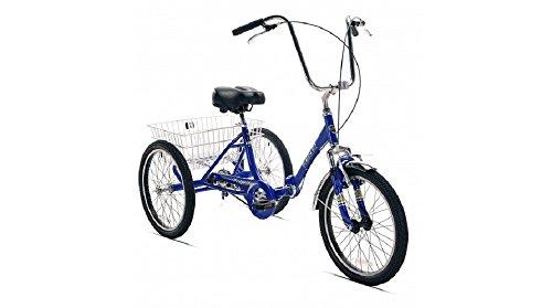 "Velor 3-Wheel 20"" Folding Tricycle 7-Speed Shimano Gears Trike (Blue)"