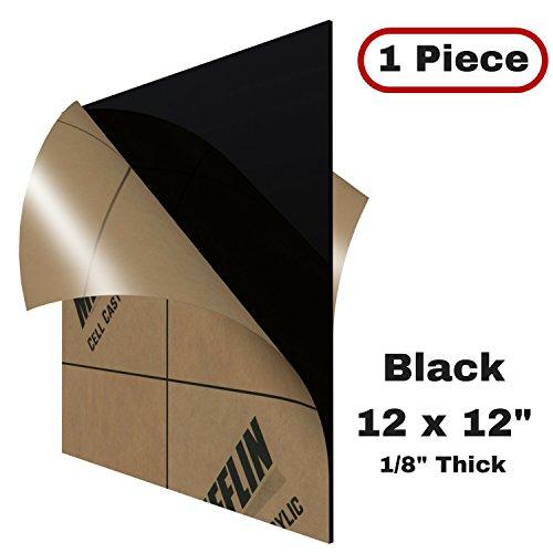 MIFFLIN Cast Acrylic Plexiglass Opaque Black (12x12 Inch, 1 Piece) .118