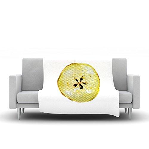 60 by 50 Kess InHouse Theresa Giolzetti Apples Yellow White Fleece Throw Blanket