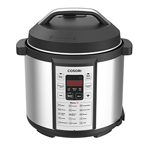 COSORI 6 Qt Premium 8-in-1 Programmable Multi-Cooker (Pressure Cooker, Rice Cooker, Steamer, Warmer, Etc.), 1000W, Includes Glass Lid, Sealing Ring and Recipe Book (6Qt-Old)
