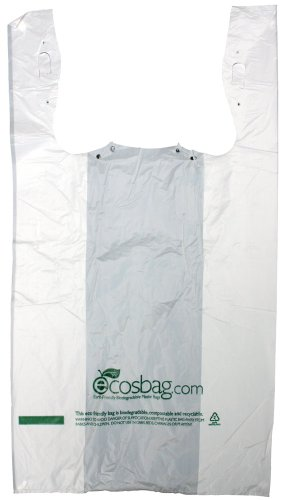 Interplas MB-T-24HD-BIO Biodegradable White T-Shirt Bags, 0.6 Mil, HDPE, 21-Inch Height, 11.5-Inch Width (Case of 1000)