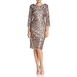 Short Column Sequin Dress with Boat Neckline