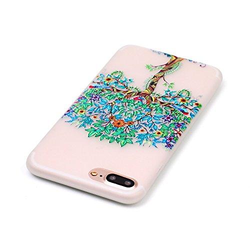 Coque Etui iPhone 7 / 8 Plus , Leiai Arbre Vert Silicone Gel Case Avant et Arrière Intégral Full Protection Cover Transparent TPU Housse Anti-rayures pour Apple iPhone 7 / 8 Plus