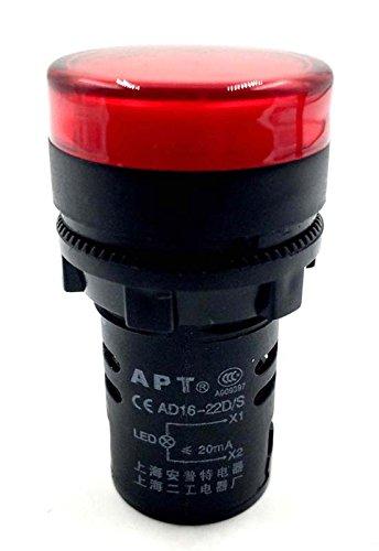 Woljay Indikator Signalleuchte Rot 22mm LED Pilot Panel AC 220V 20mA Signallampe 2 Stück