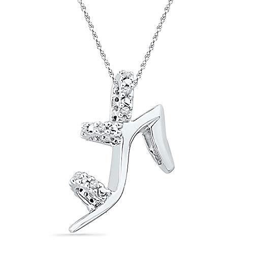 10kt White Gold Womens Round Diamond Stiletto Shoe Pendant 1/20 Cttw ()