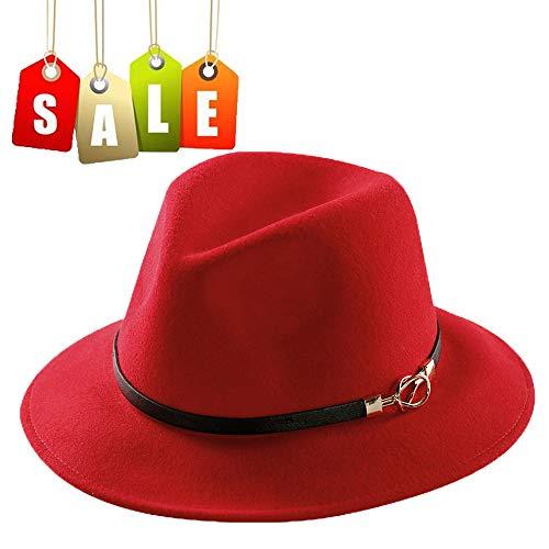 Mostyleo, Womens Fedora Hat 100% Wool Felt Hats Winter Trilby Cap Wide Brim with Leather Belt D飯r, A2-red, Medium