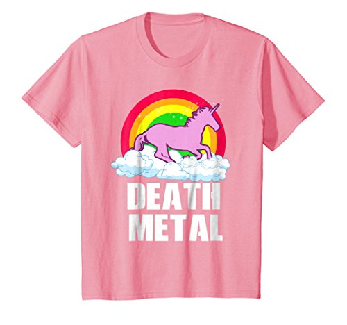 Kids Funny Death Metal Unicorn Rainbow - T-Shirt - Heavy Metal 8 Pink
