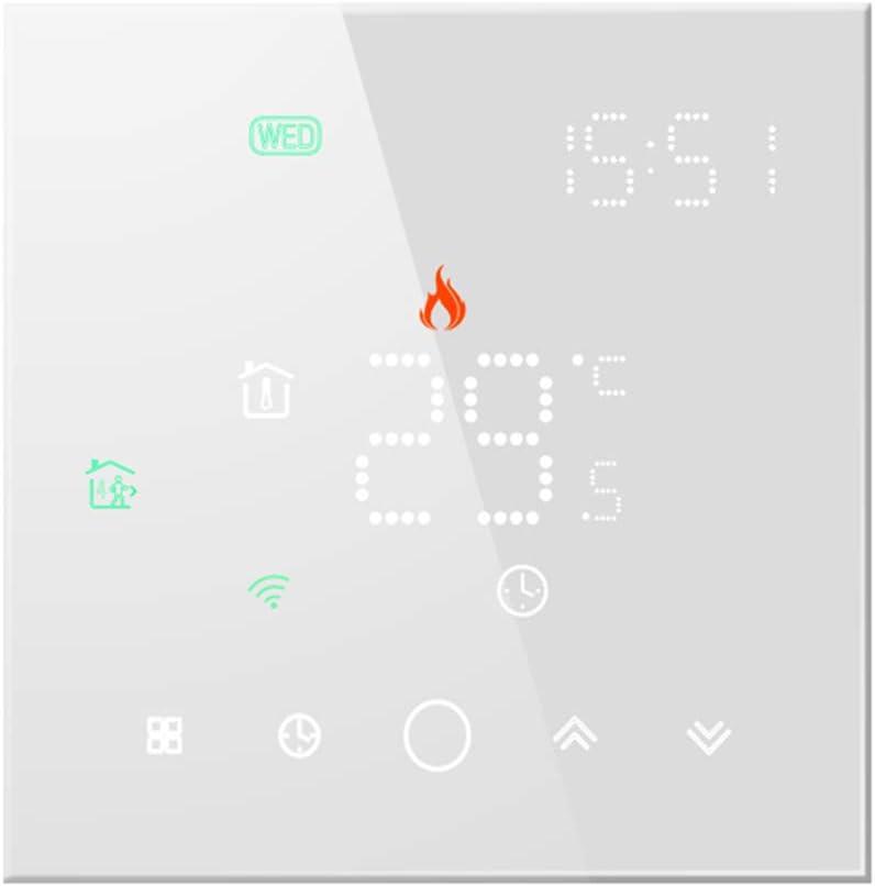 Qiumi Termostato Inteligente Wifi para calefacción individual de calderas de gas/agua Funciona con Alexa Google Home Contacto seco, La pantalla de luz de matriz LED protege sus ojos 5A 95~240V CA