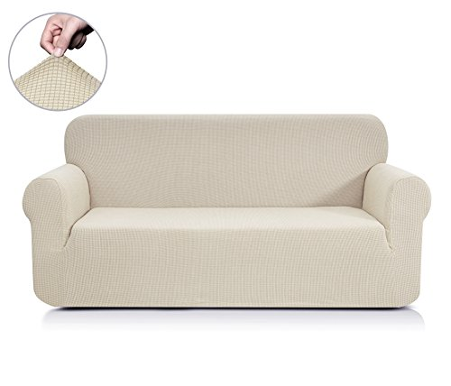 CHUN YI Jacquard Sofa Covers 1-Piece Polyester Spandex Fabric Slipcover (Loveseat, Ivory - White Sofa Couch
