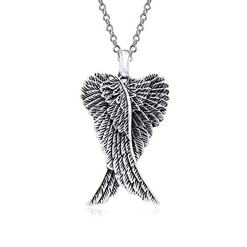 - Engravable Heart Guardian Angel Wing Feather Pendant Necklace For Women For Teen Oxidized 925 Sterling Silver
