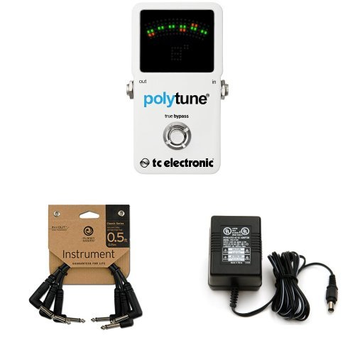 TC Electronic Polytune 2 Pedal Tuner Bundle with Power Adapter and Instrument Cables (Pedal Tuner Cable Strings)